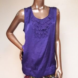 ADiva Silky Purple Fabric Feateted Front Blouse